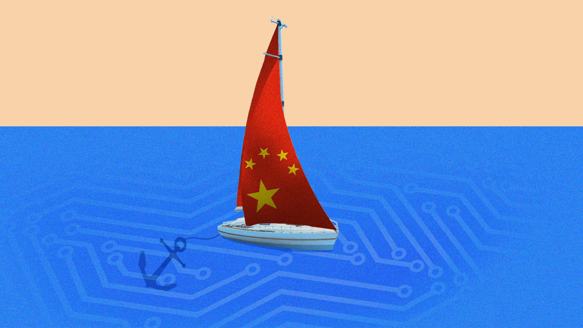 A boat with a Chinese flag as a sail