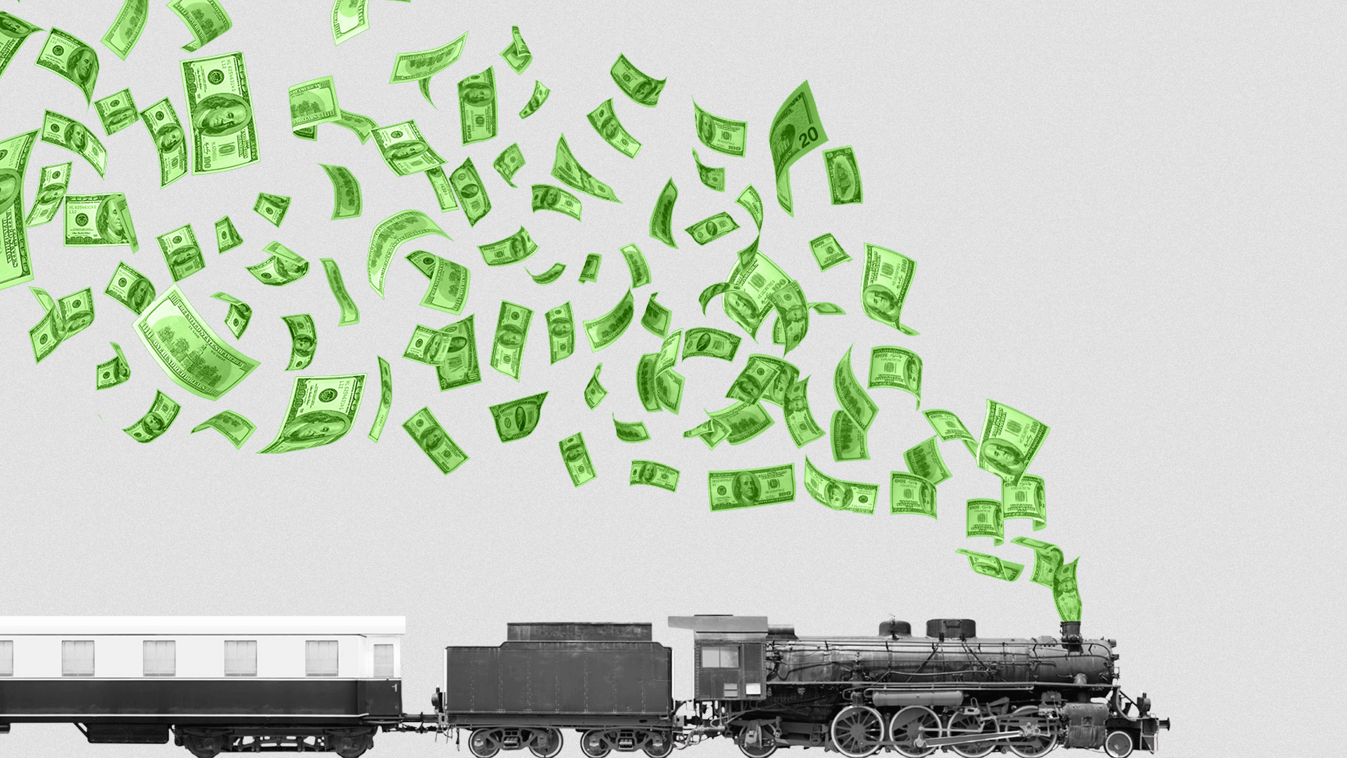 Illustration of a locomotive train with dollar bills flying out of the smoke stack.