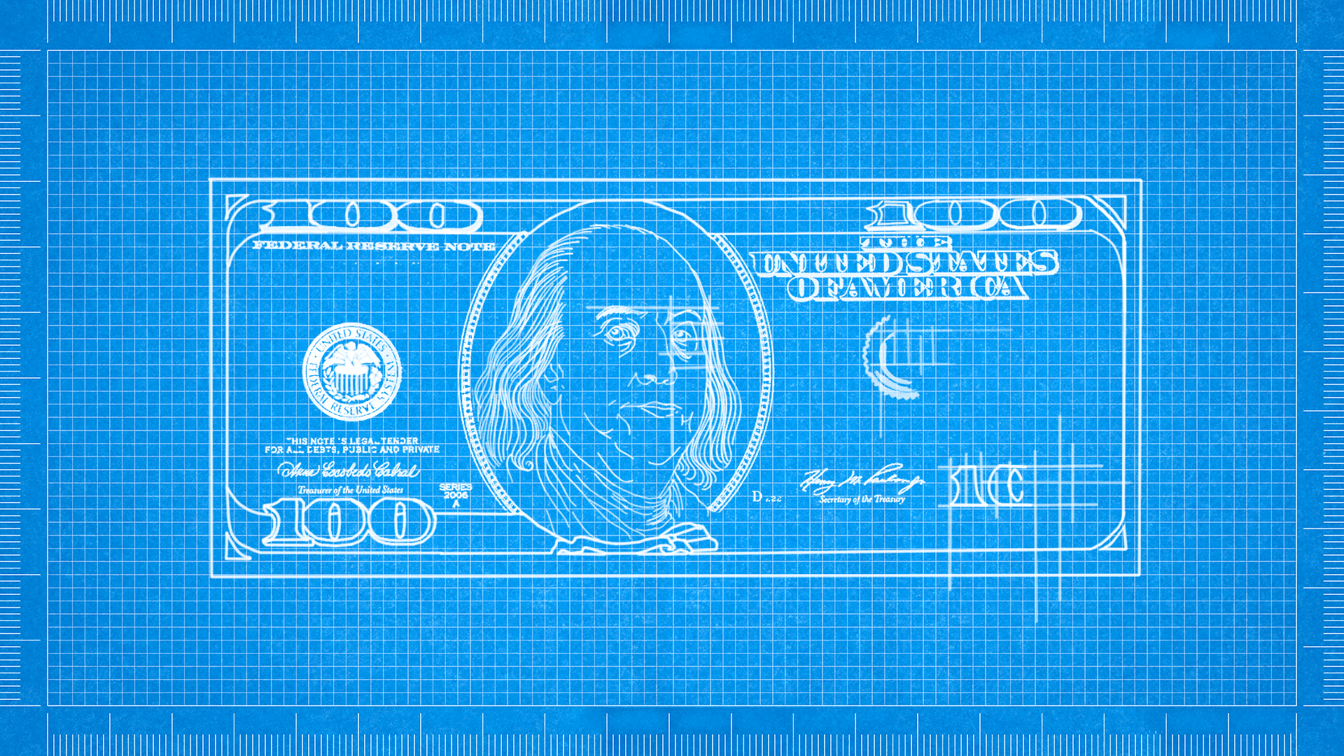 Illustration of a blueprint drawing of an uncompleted hundred dollar bill.