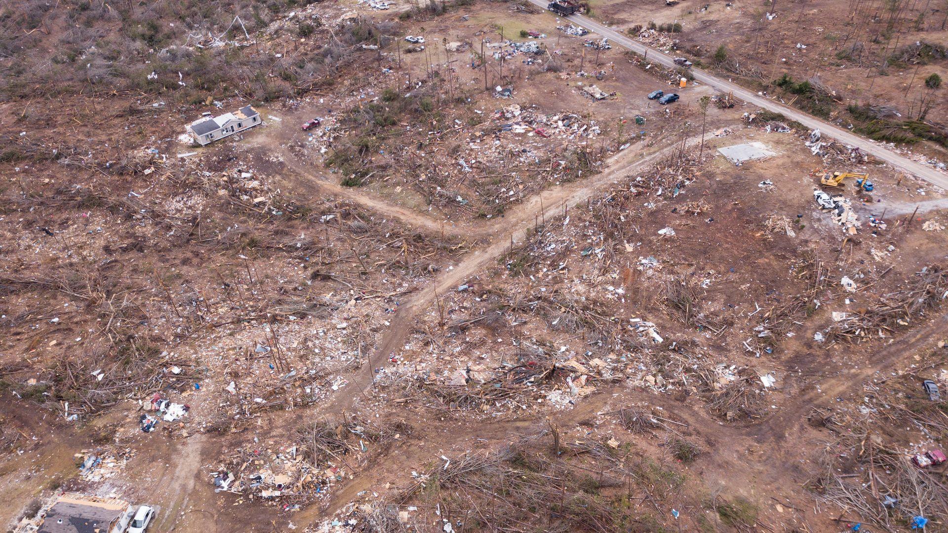 Damage from an Alabama tornado