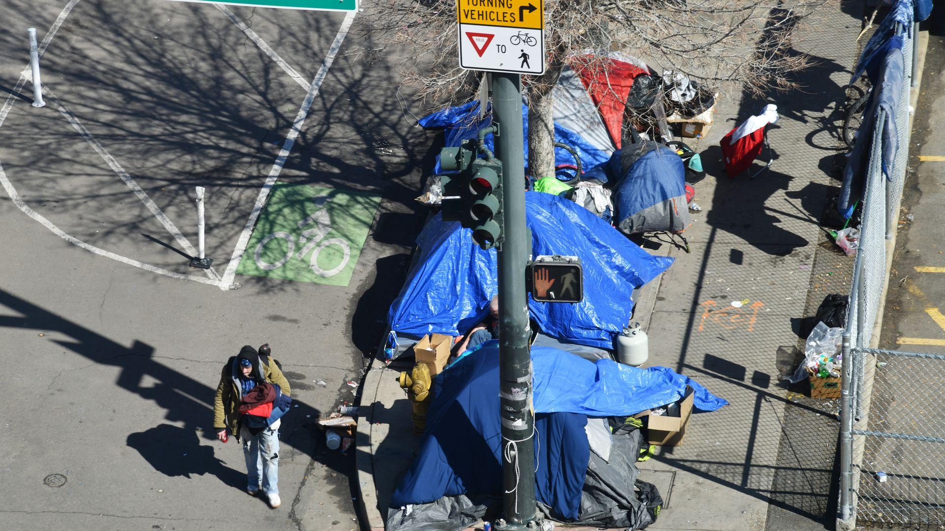 A photo of a homeless encampment in Denver.