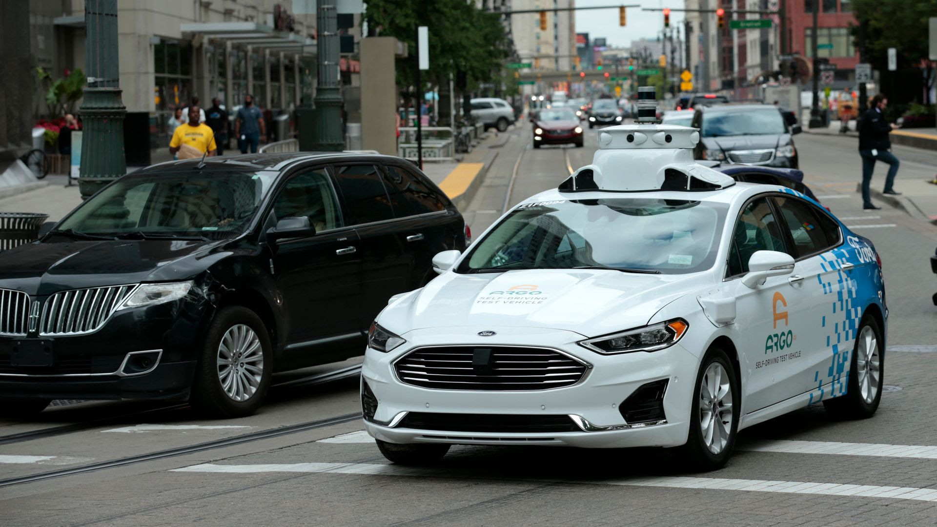 A Ford Argo AI test vehicle being tested in downtown Detroit
