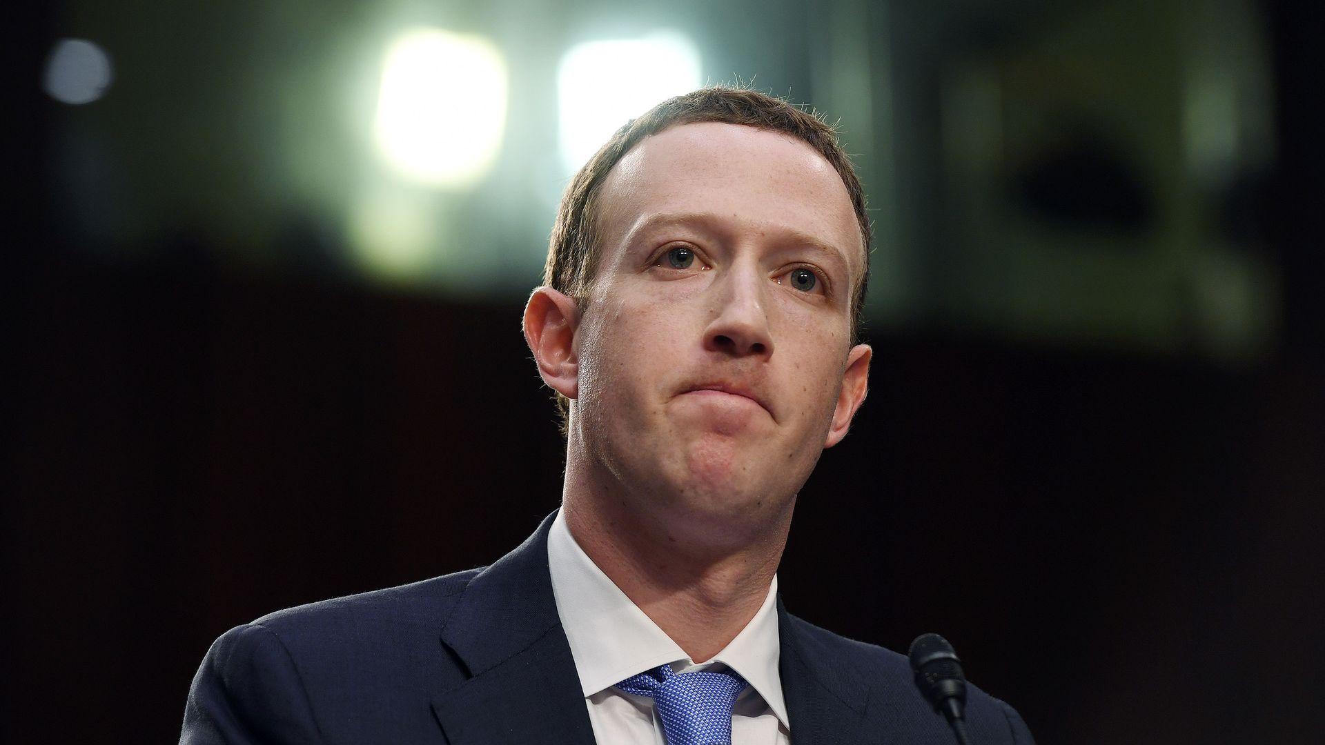 Mark Zuckerberg testifying before Congress