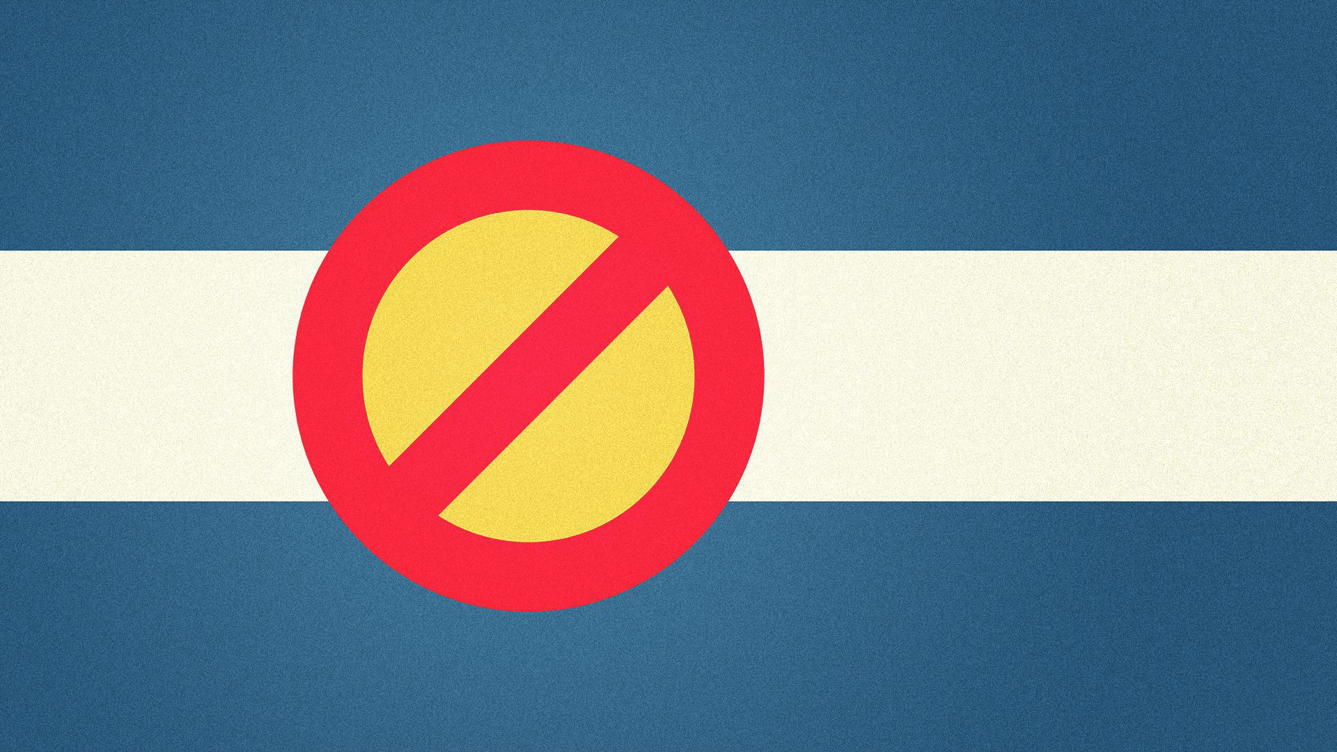 Illustration of the Colorado flag, with a no symbol instead of a c.