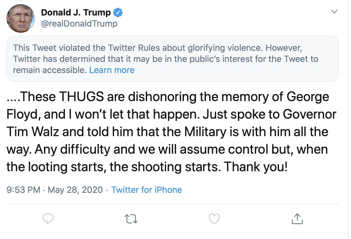 Twitter Trump S Minnesota Tweet Violated Rules On Violence Axios