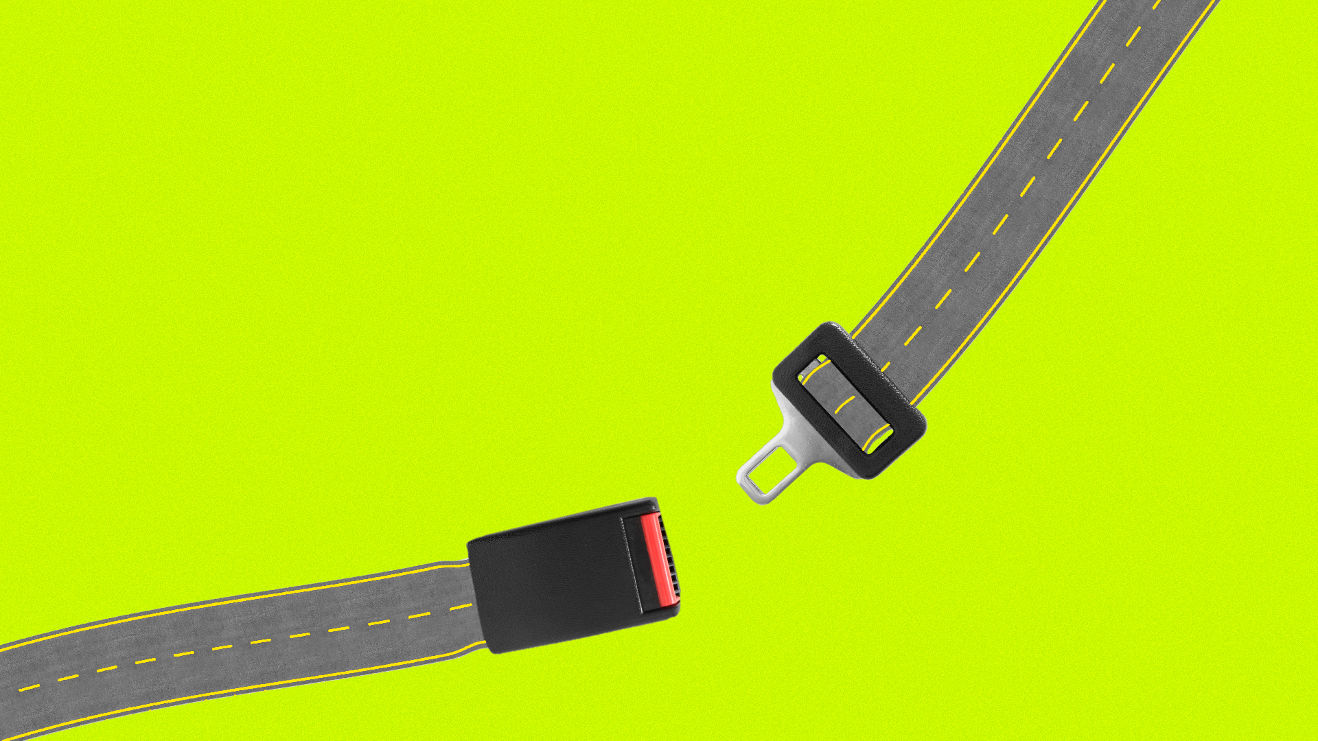 Illustration of an unfastened seat belt, with the belt replaced with a road