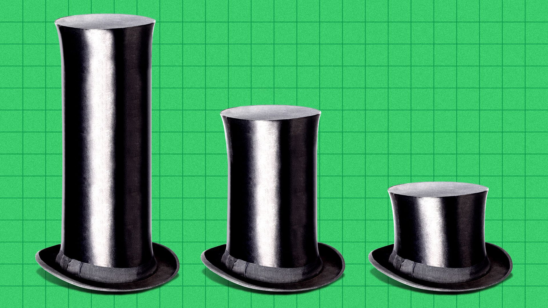 Illustration of a bar chart made of top hats of declining sizes.