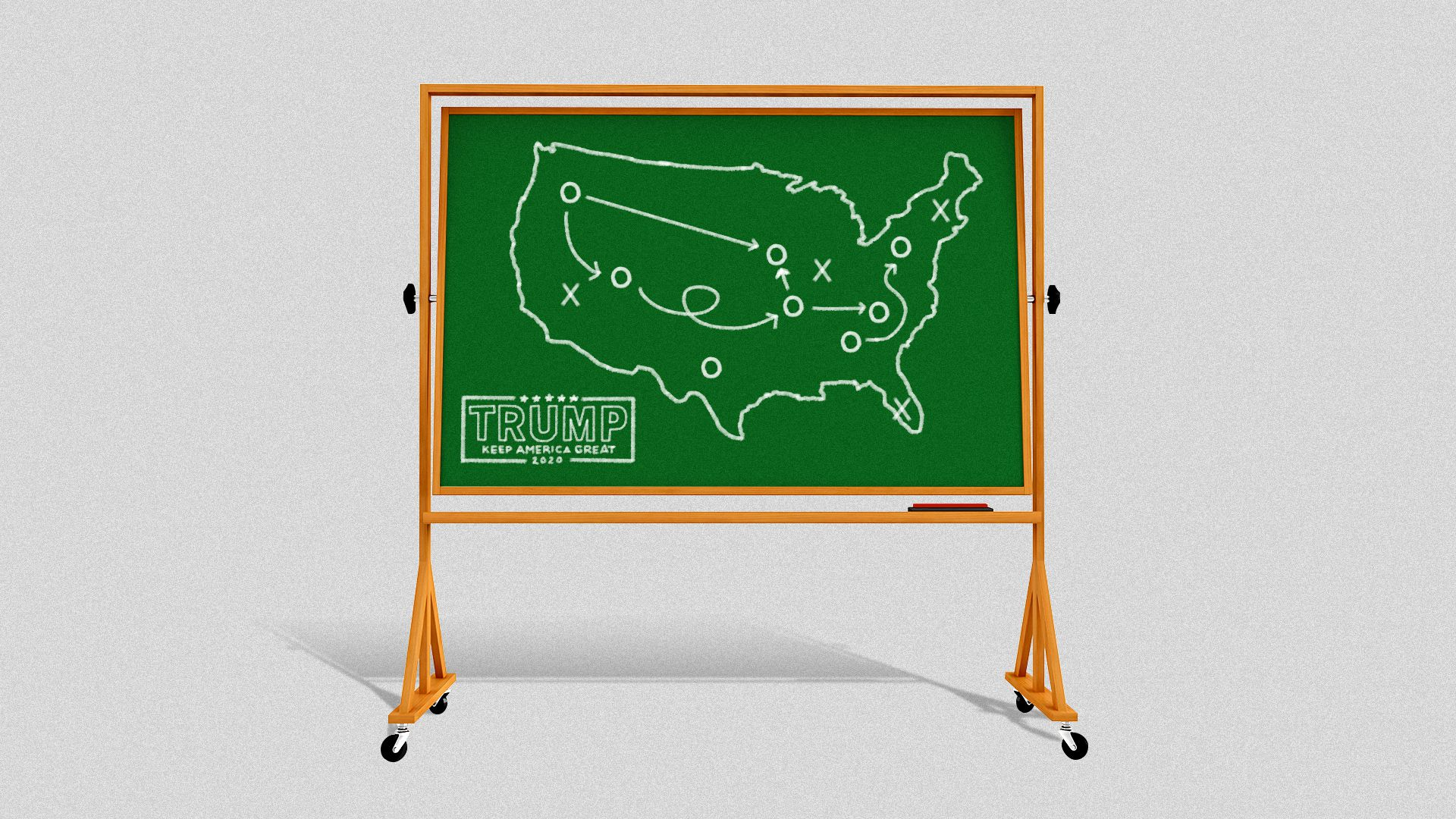 Illustration of a chalk board that says Trump 2020 with a map of the United States and diagrams like a football play