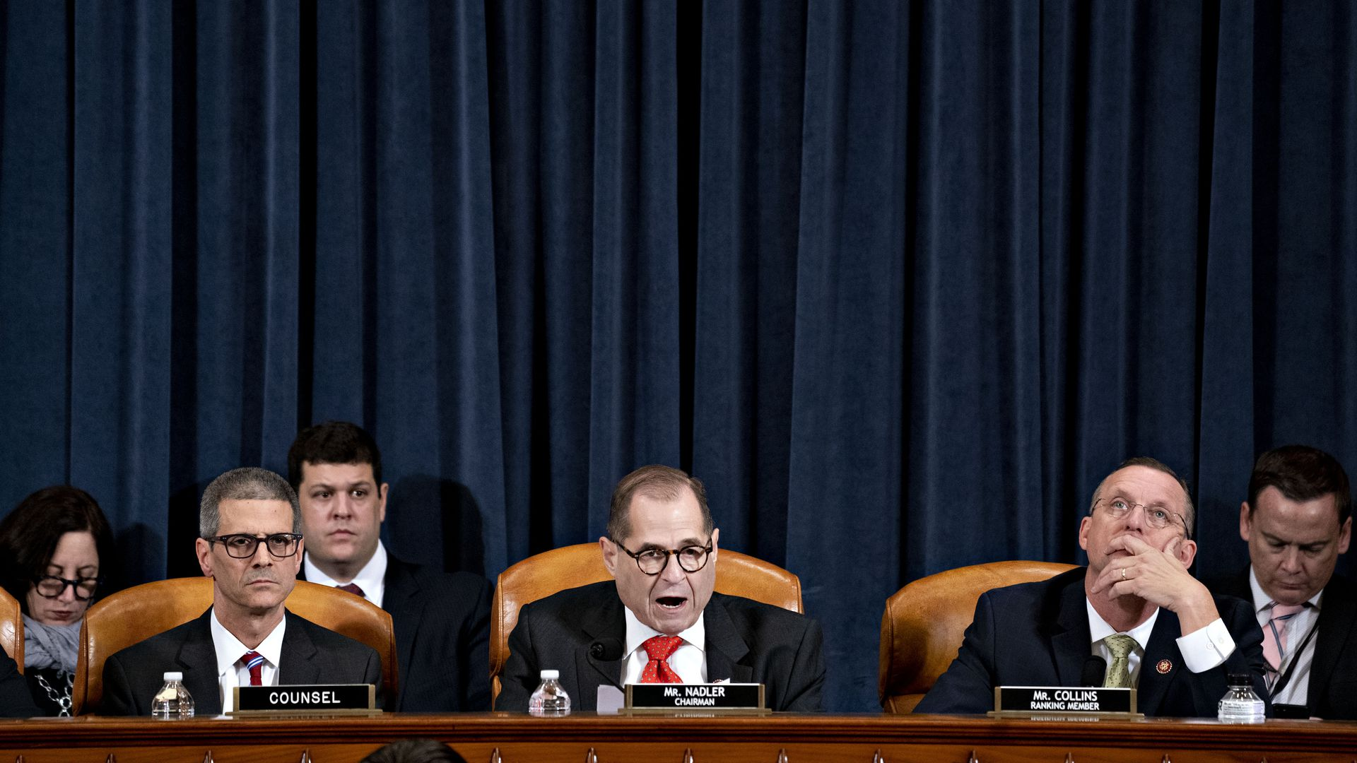 U.S. House Judiciary Committee Chairman Jerry Nadler (D-NY) (C) speaks as ranking member Rep. Doug Collins (R-GA) (R) listens