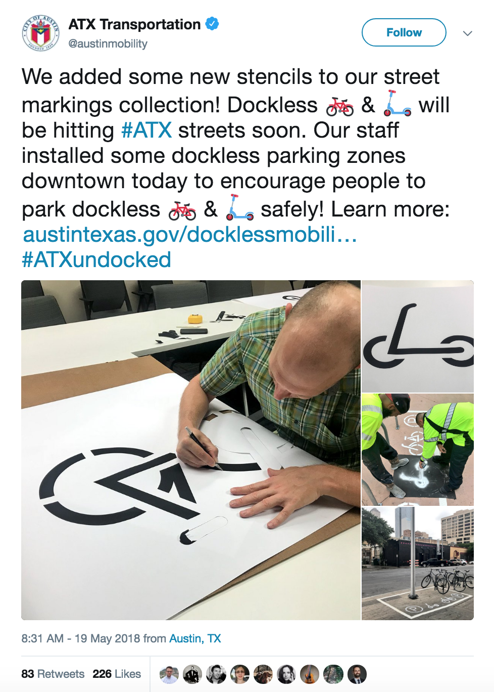 Screenshot of ATX Transportation tweet on scooter parking stencils on sidewalk