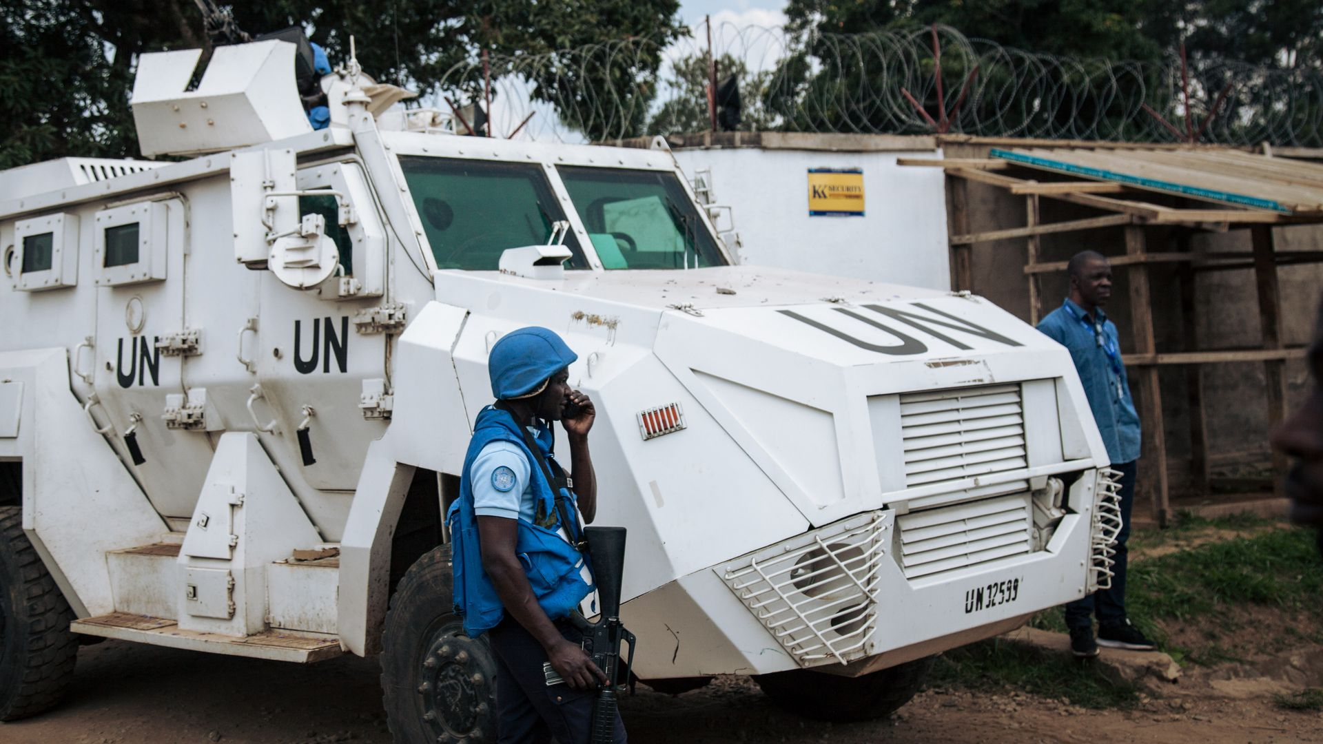 Photo of a MUNESCO armored tank outside an Ebola Treatment Center in Beni from December.