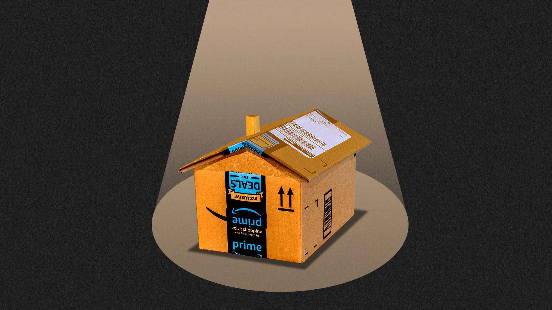 An illustration of a house, in the guise of an Amazon package, under a spotlight