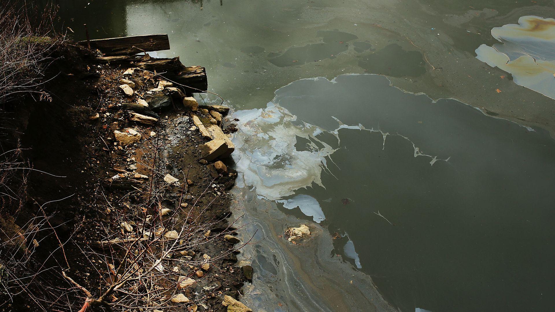 The Gowanus Canal, a designated federal Superfund site in Brooklyn, New York.