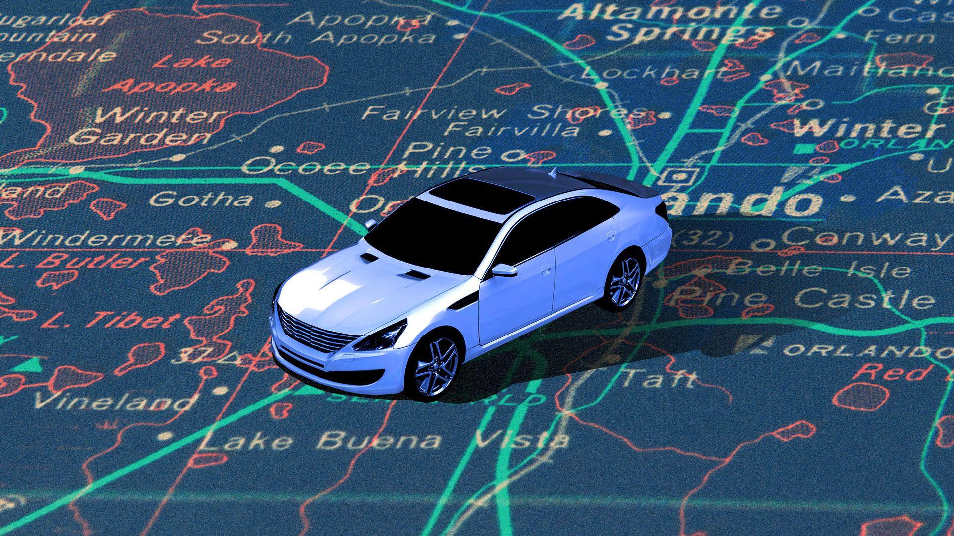 Illustration of car on a map of Orlando, Florida.