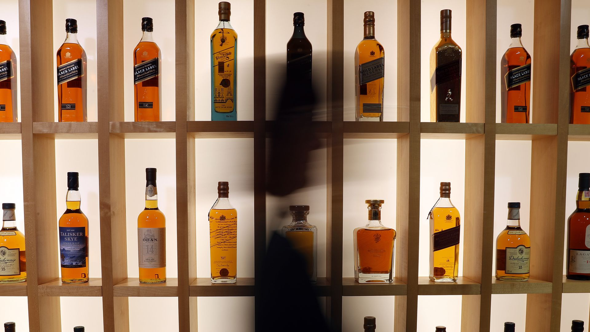 A wall of whiskey bottles