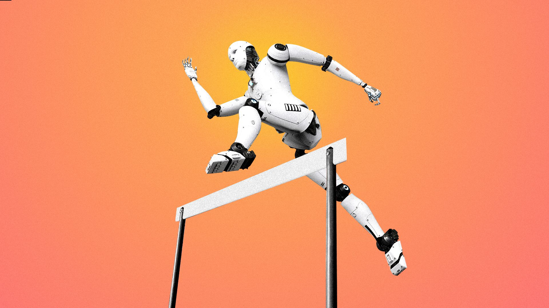 Illustration of a robot jumping over a hurdle