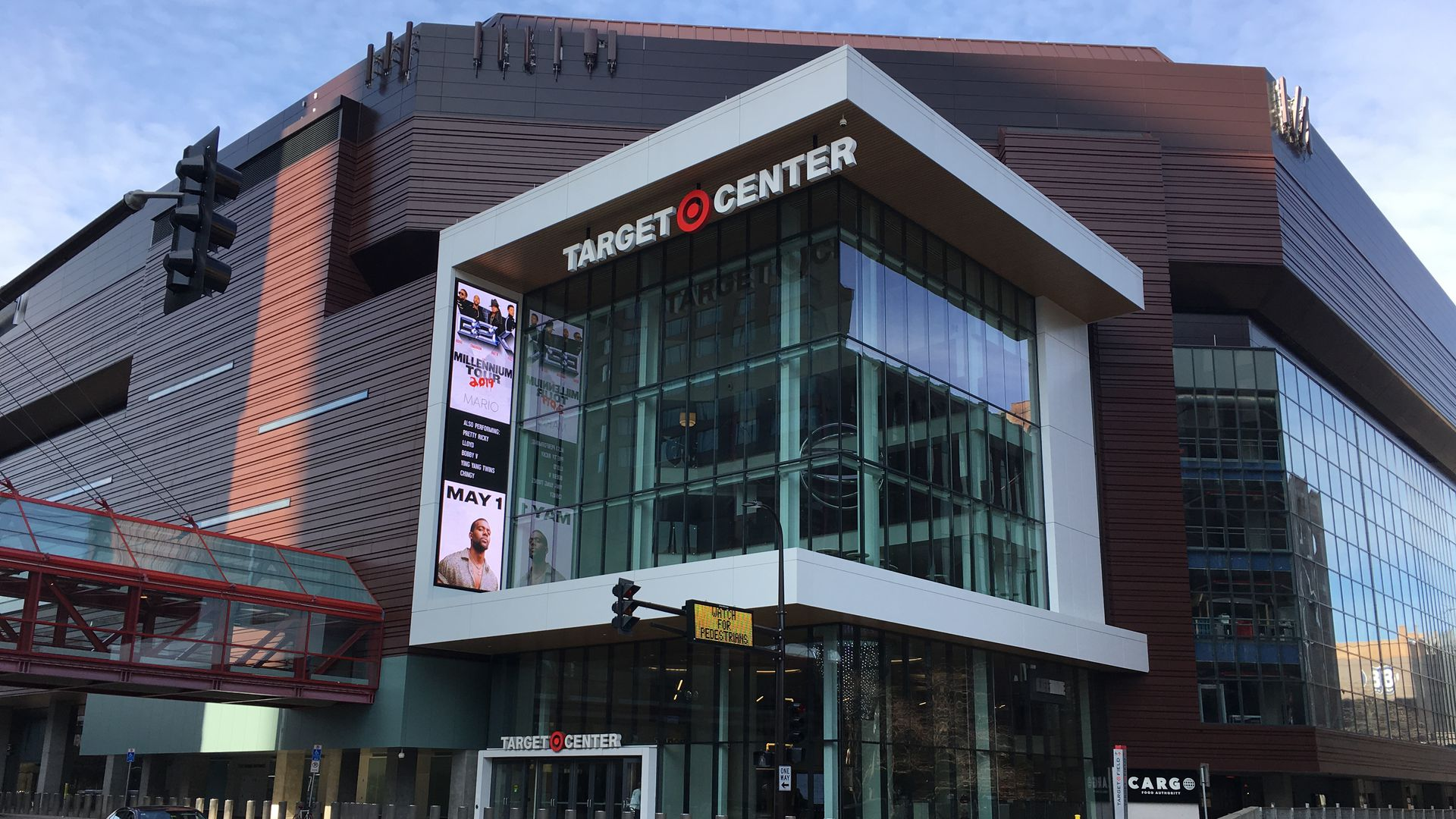The exterior of Target Center with its big glass entrance