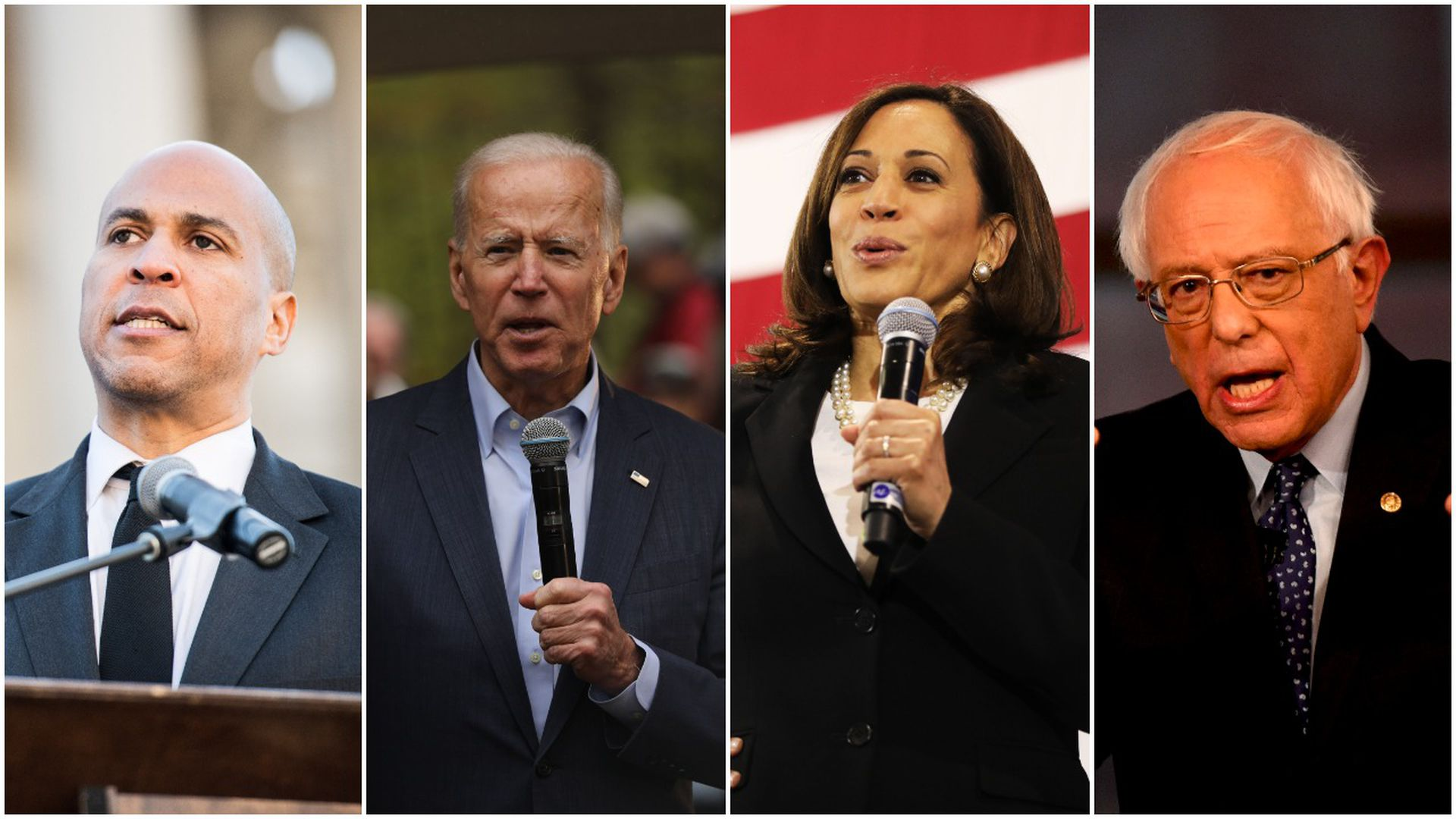 This image is a four-way split screen showing candidates in the following orders: Booker, Harris, Biden, and Sanders.