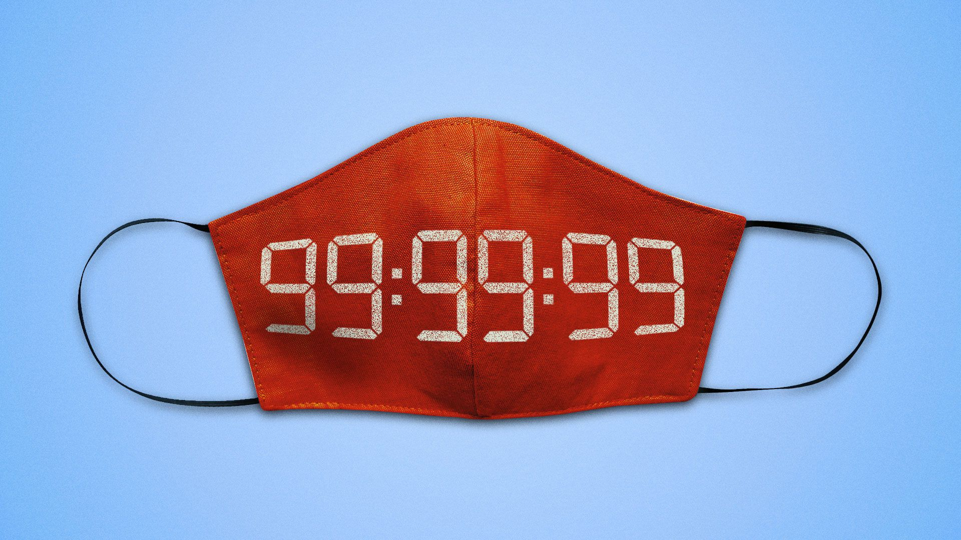 Illustration of a face mask with an alarm clock set to 99:99:99