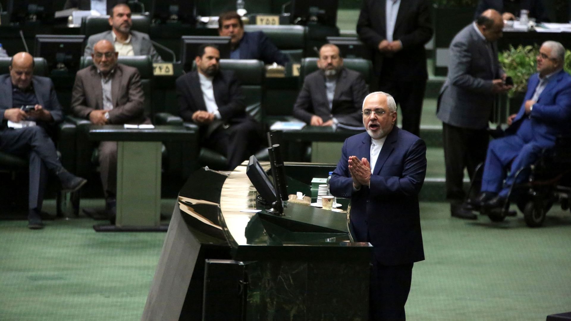 Iran's Foreign Minister Mohammad Javad Zarif delivers a speech to the parliament in Tehran on October 7, 2018, over the a bill to counter terrorist financing.
