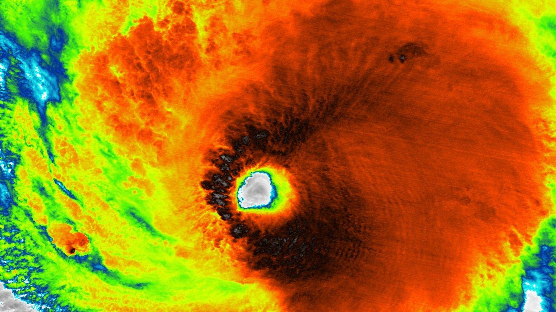 NOAA satellite image of Hurricane Lane at its peak intensity on Aug. 22, 2018.