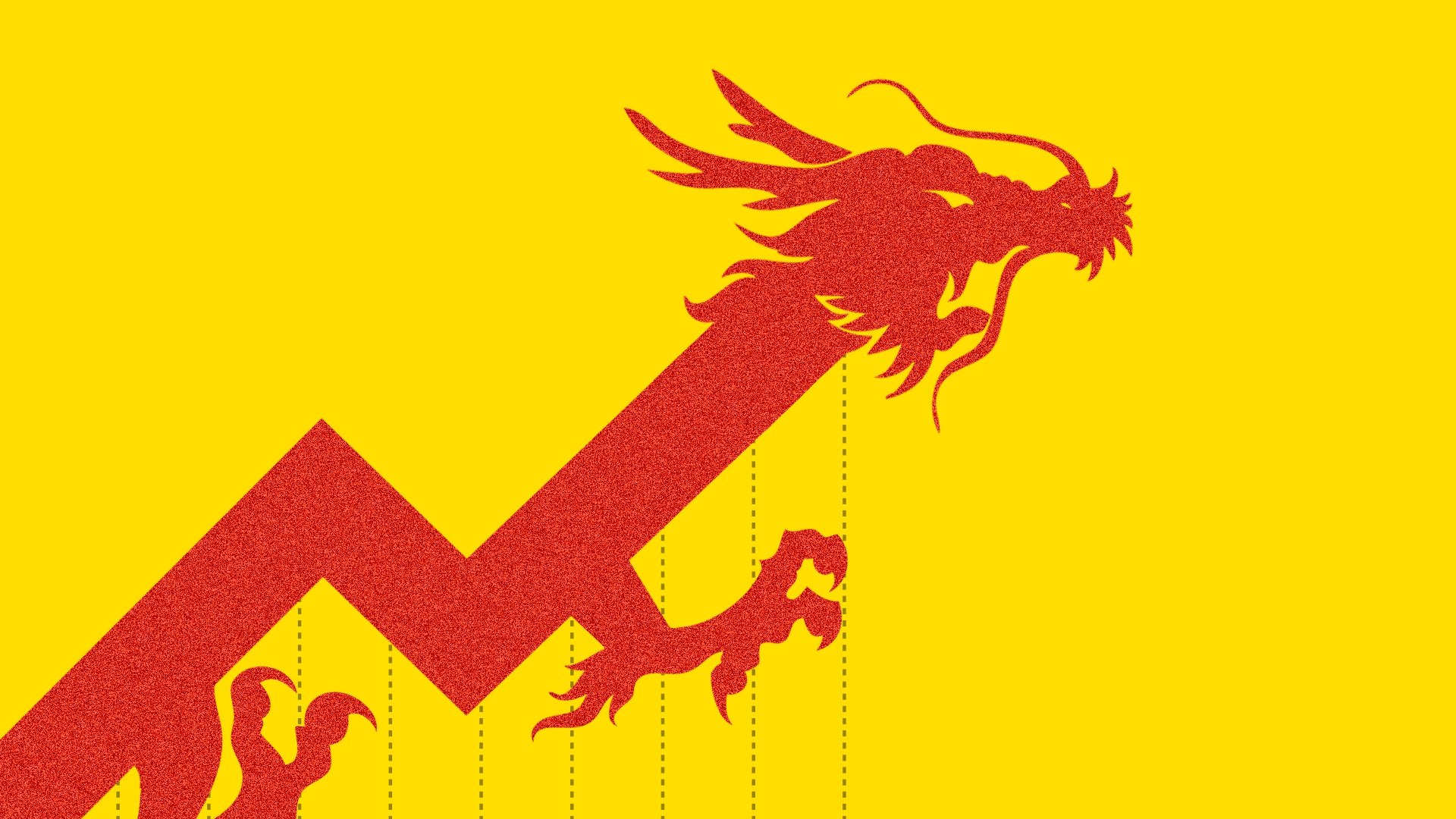 Graphic illustration of a red Chinese dragon on yellow background showing spike in an investment chart