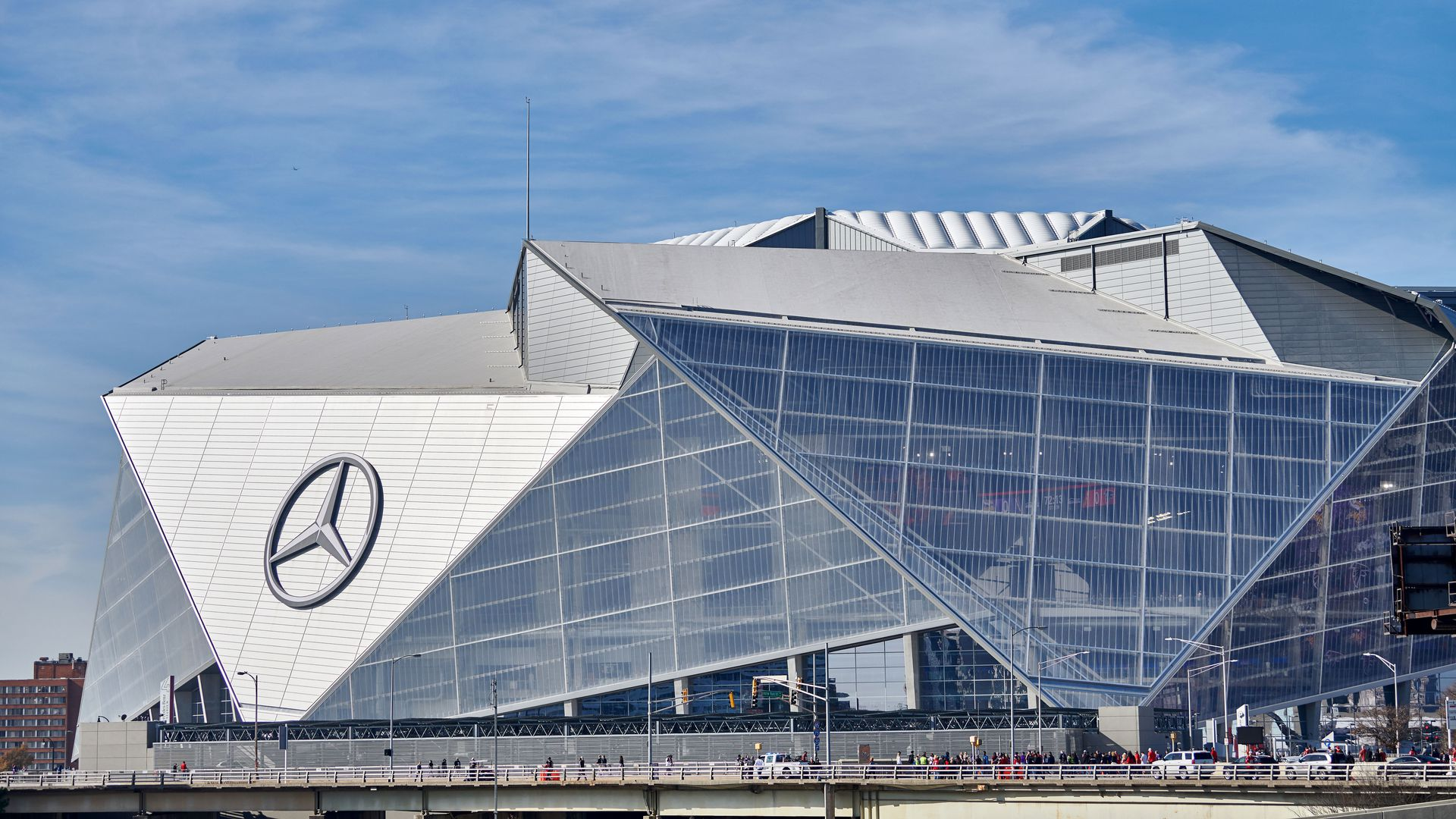 A general view of the exterior of the Mercedes-Benz Stadium is seen on the exterior of the Mercedes-Benz Stadium