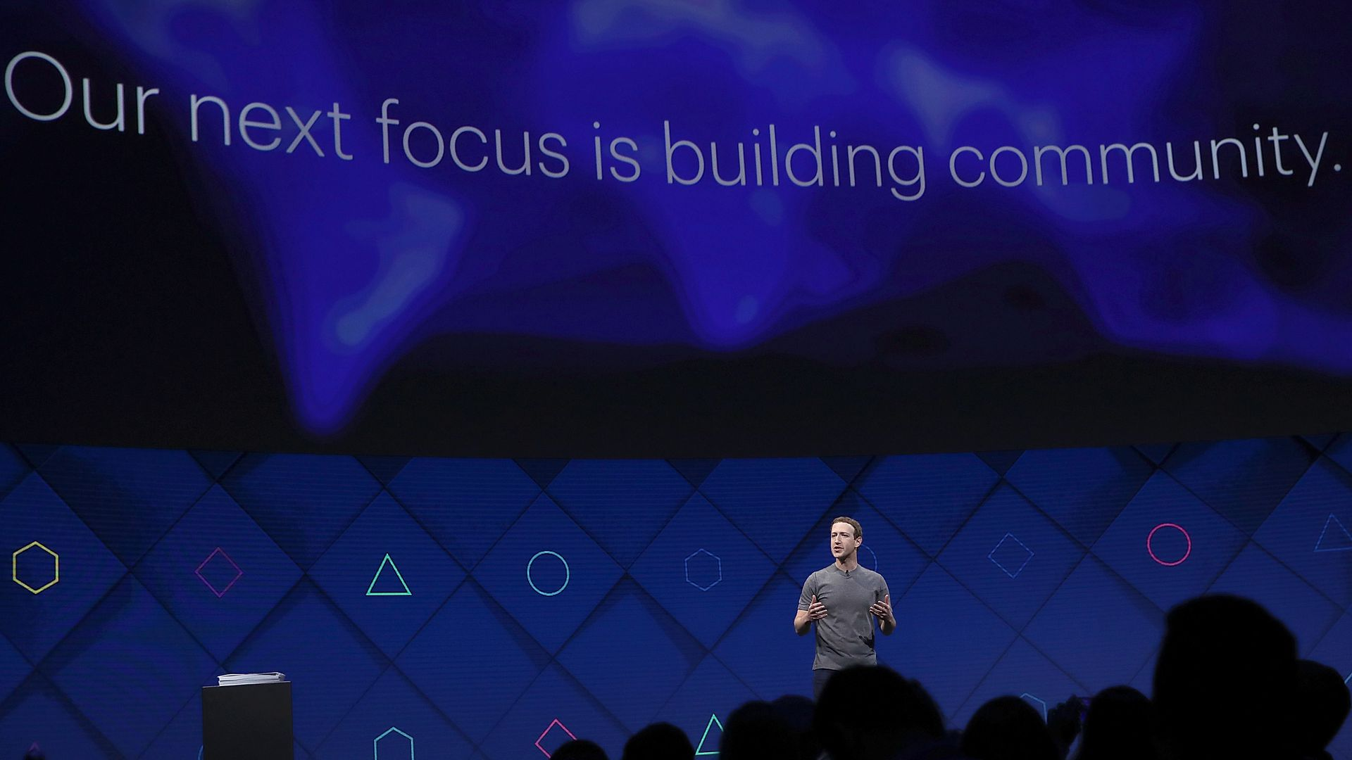 Mark Zuckerberg onstage at Facebook's conference