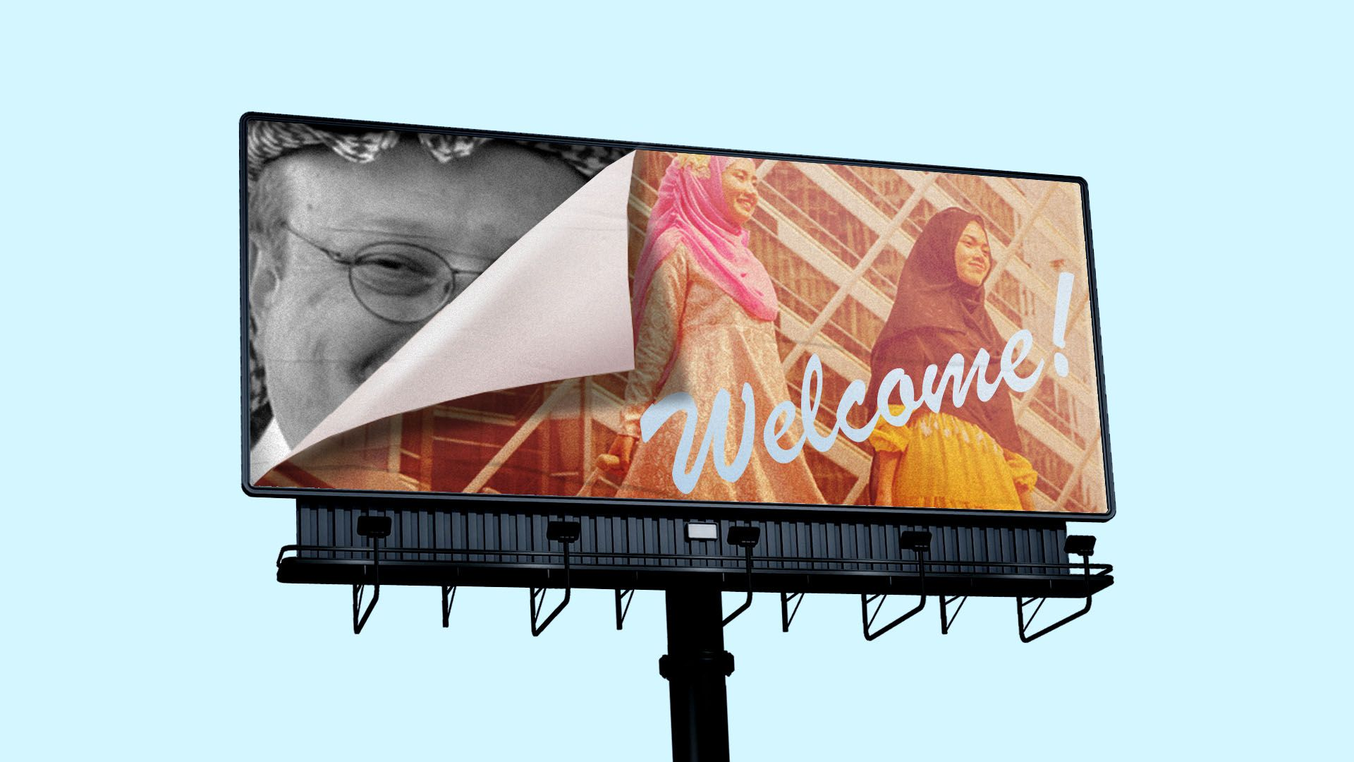Illustration of journalist Jamal Khashoggi's photograph on a billboard being covered up by a tourist campaign