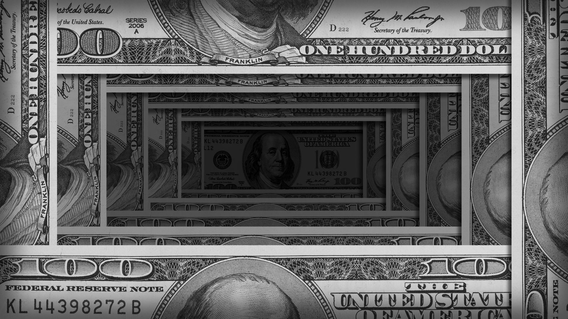 Illustration of stacks of hundred dollar bills receding into an ever-darker distance