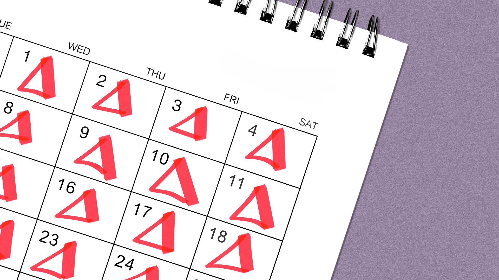 Illustration of a calendar with the letter delta on every date.