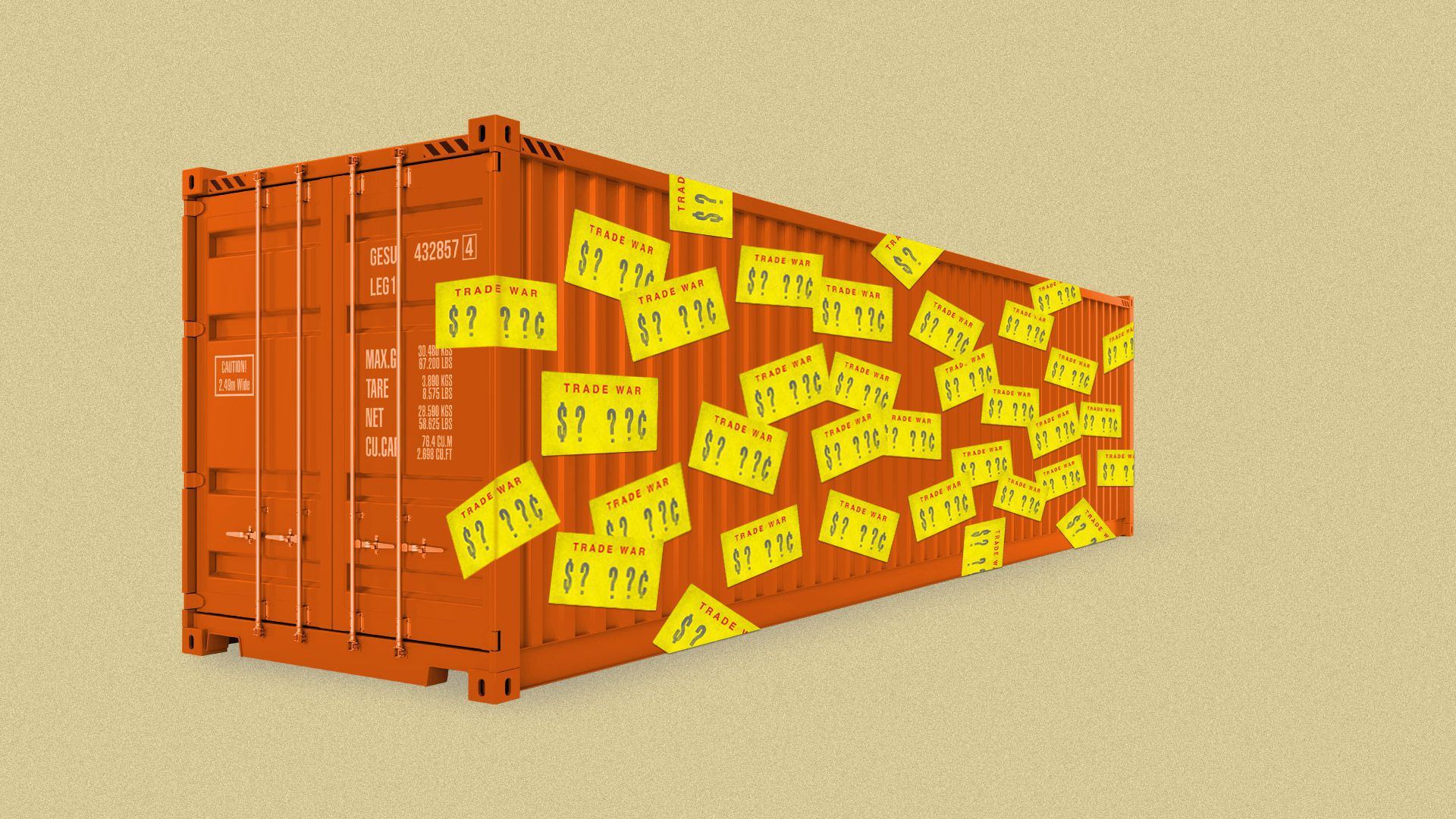 Illustration of orange freight container with yellow Trade War stickers stuck all over it