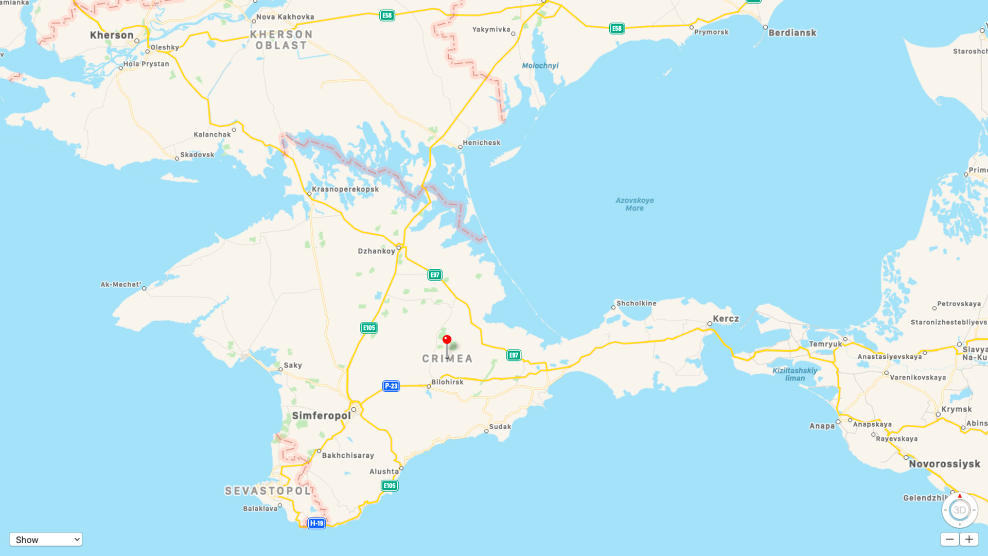 Crimea viewed on Apple maps outside of Russia