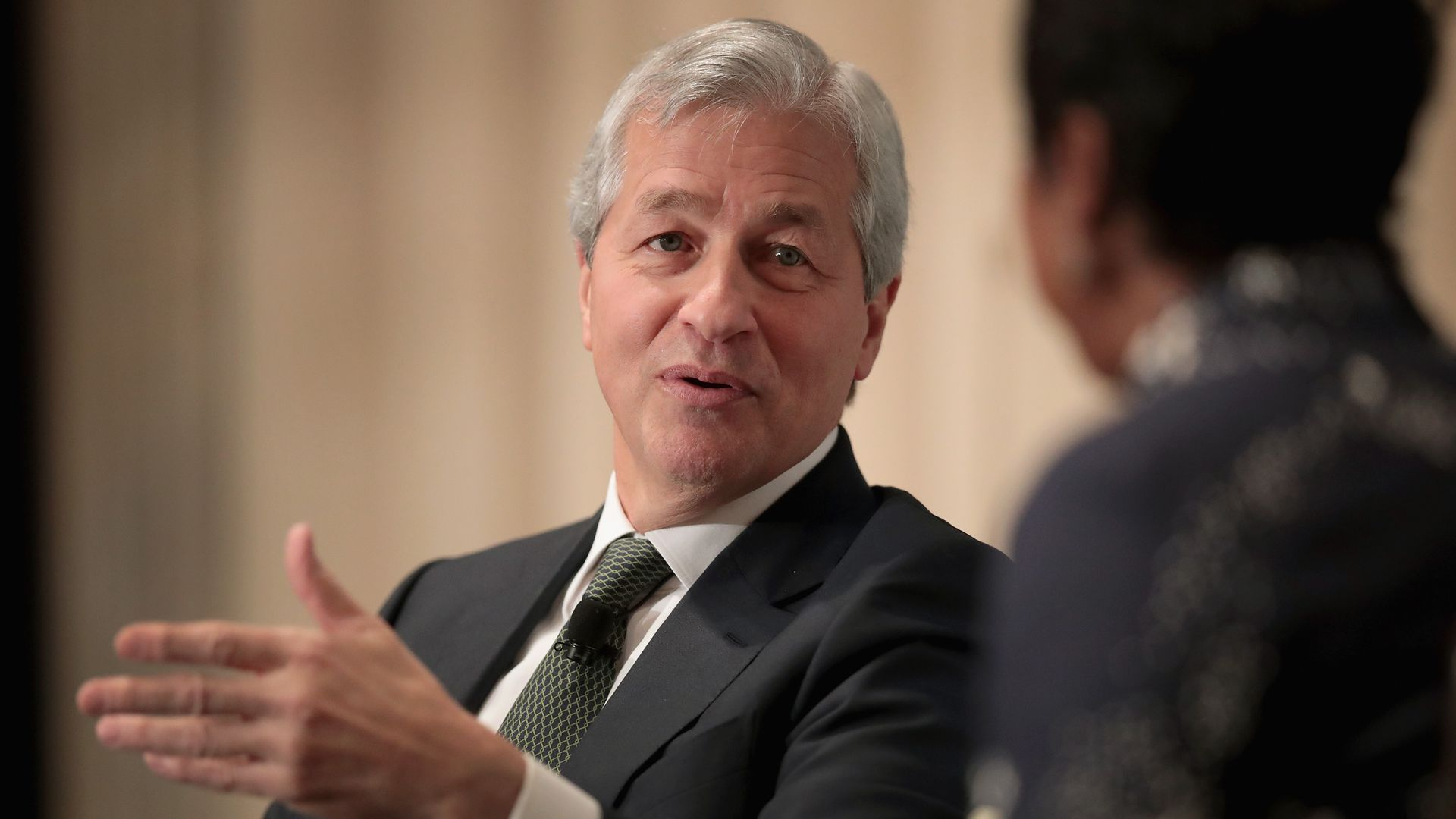 JPMorgan CEO Jamie Dimon speaks at a conference.