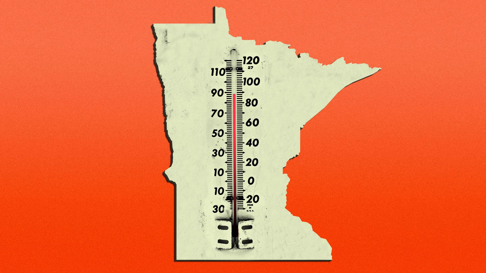 Illustration of a thermometer in the shape of Minnesota registering 90 degrees.