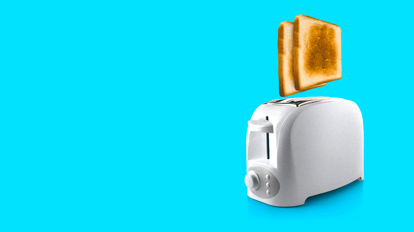 An illustration of a toaster toasting bread, and the bread shooting out of sight
