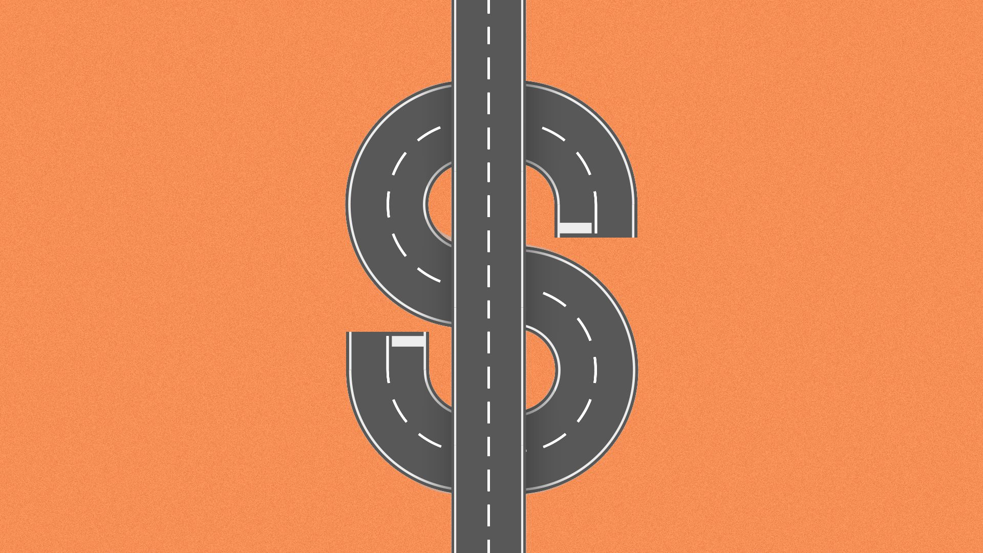 Illustration of a road in the shape of a dollar sign.