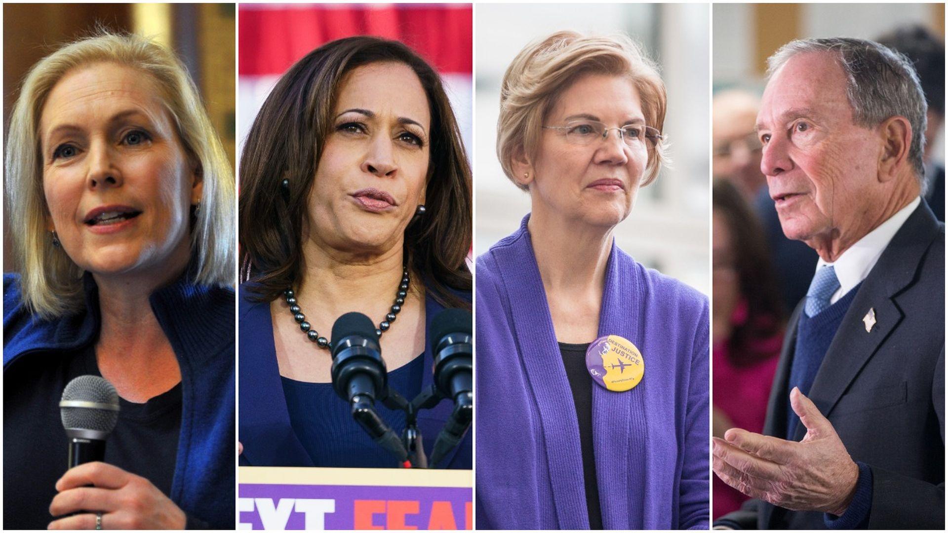 Sen. Kirsten Gillibrand, Sen. Kamala Harris, Sen. Elizabeth Warren and Michael Bloomberg.