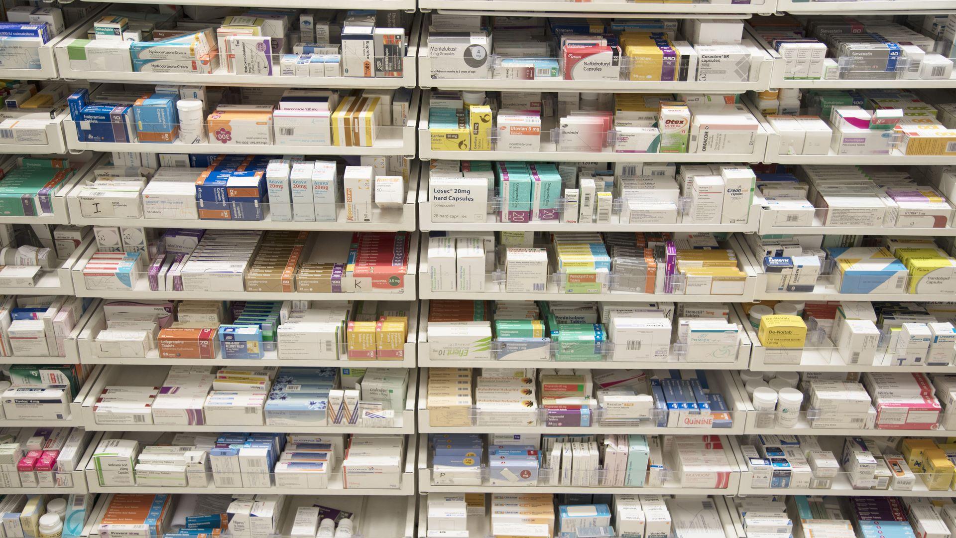 Prescription drugs on pharmacy shelves