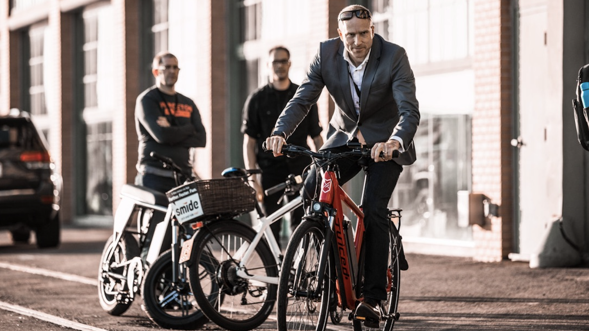 Bond Mobility CEO Raoul Stockle on a bike at the micromobility summit