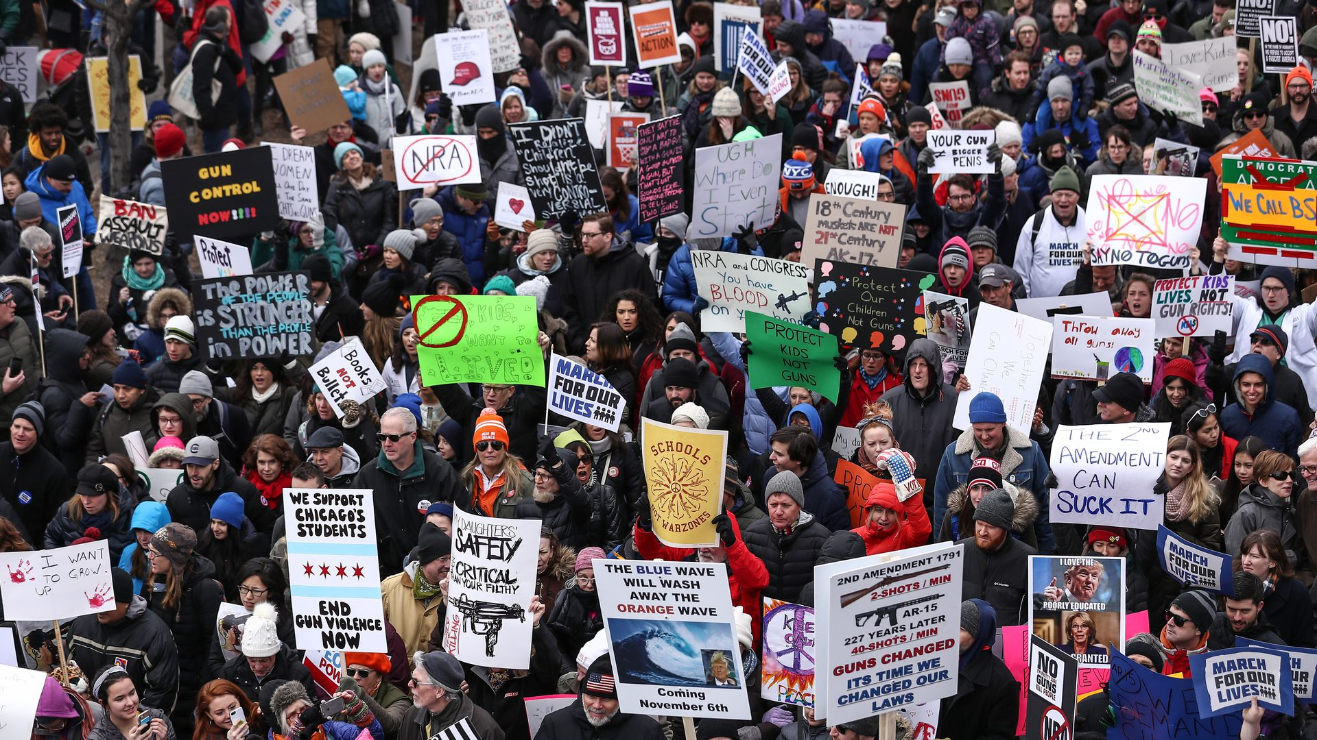 March for Our Lives rally with a crowd of people in the streets of Chicago
