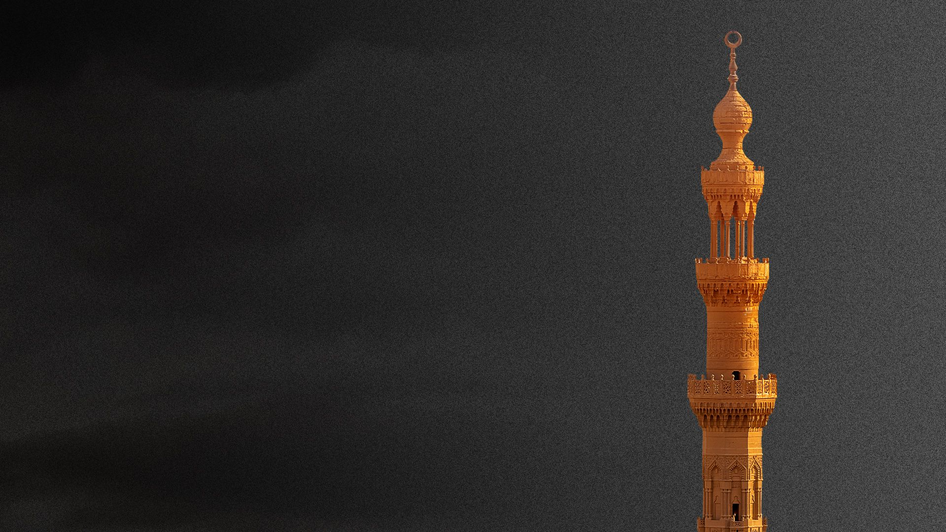 Illustration of a minaret on a foreboding background