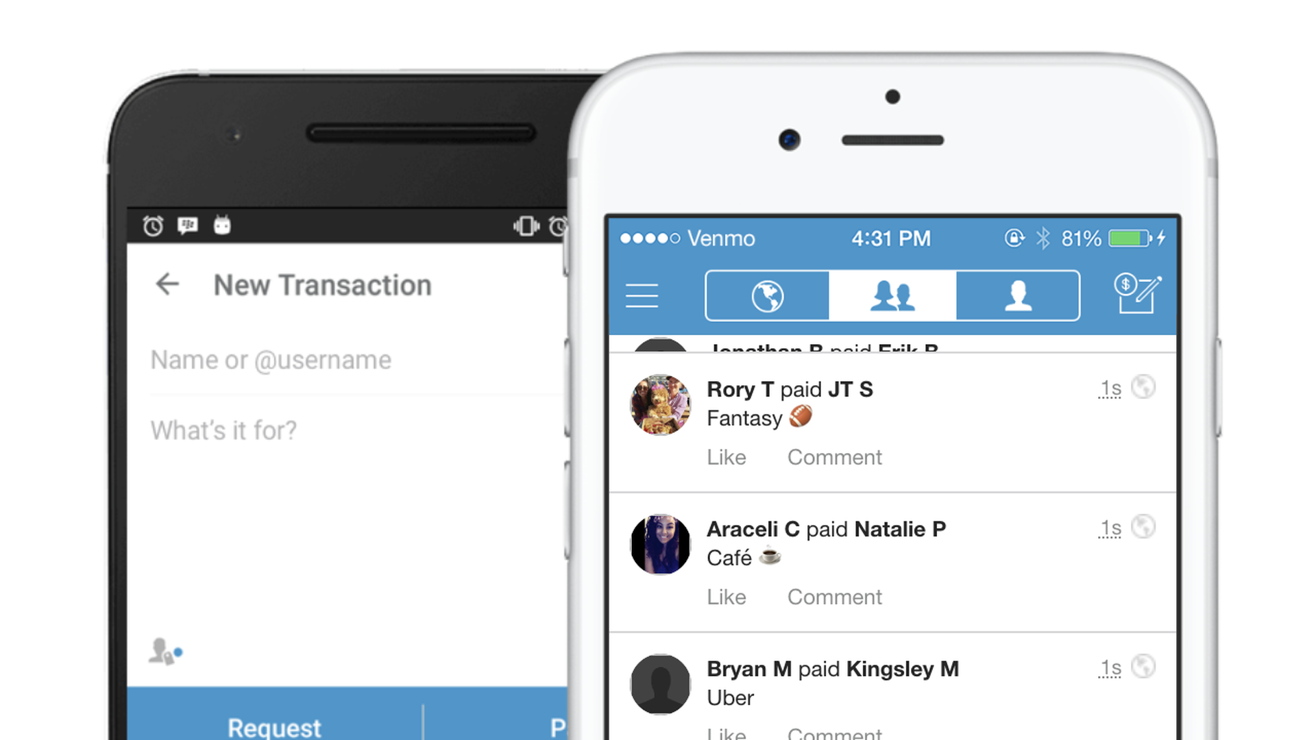 Photos of Venmo app on iPhone screens