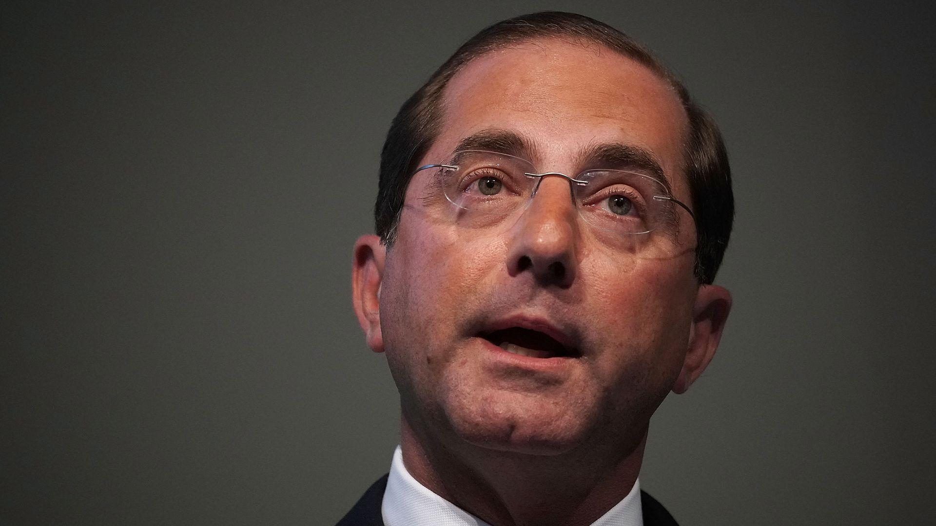 U.S. Secretary of Health and Human Services Alex Azar speaks on prescription drugs