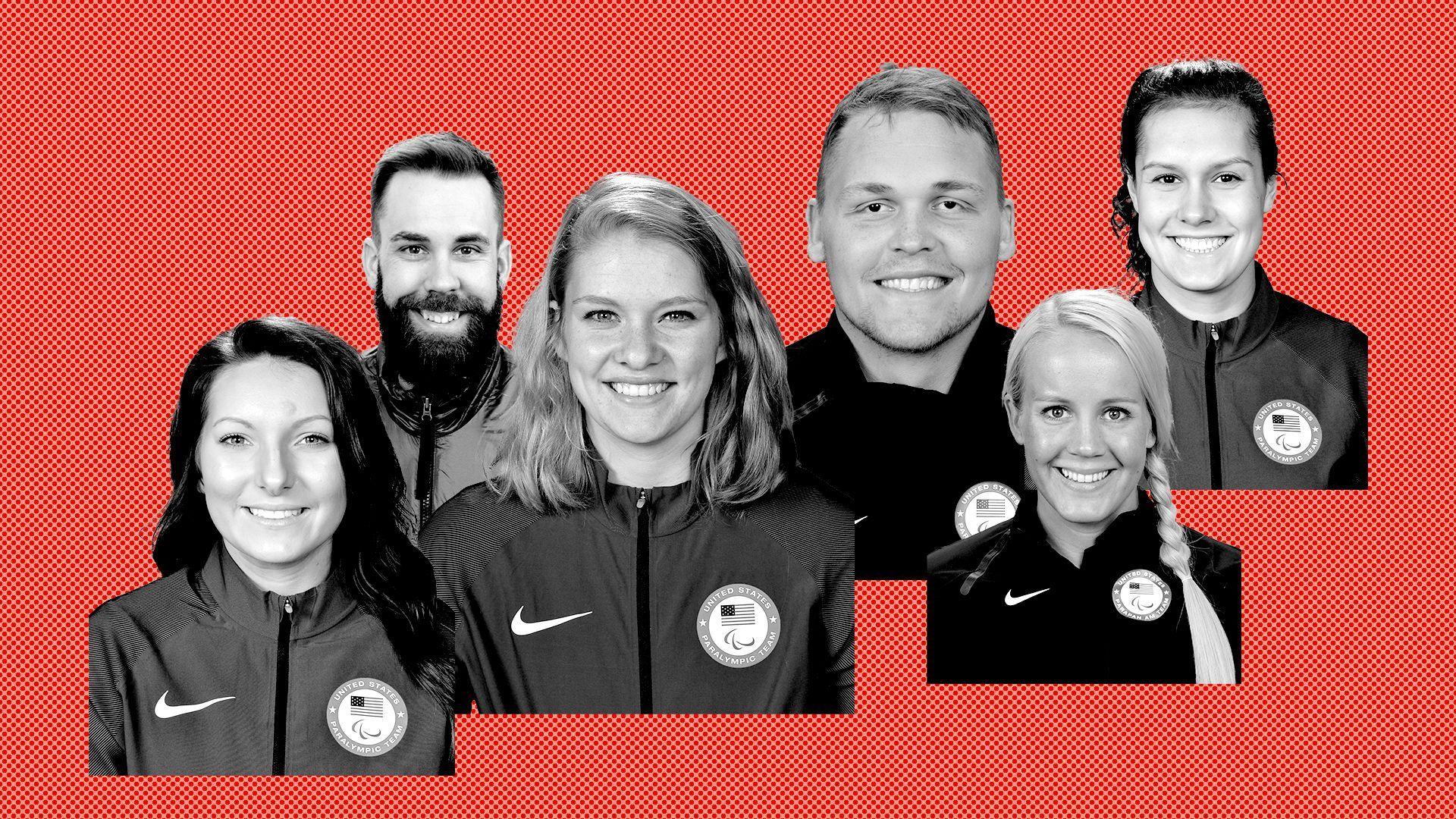 Photo illustration of six Paralympians from Minnesota