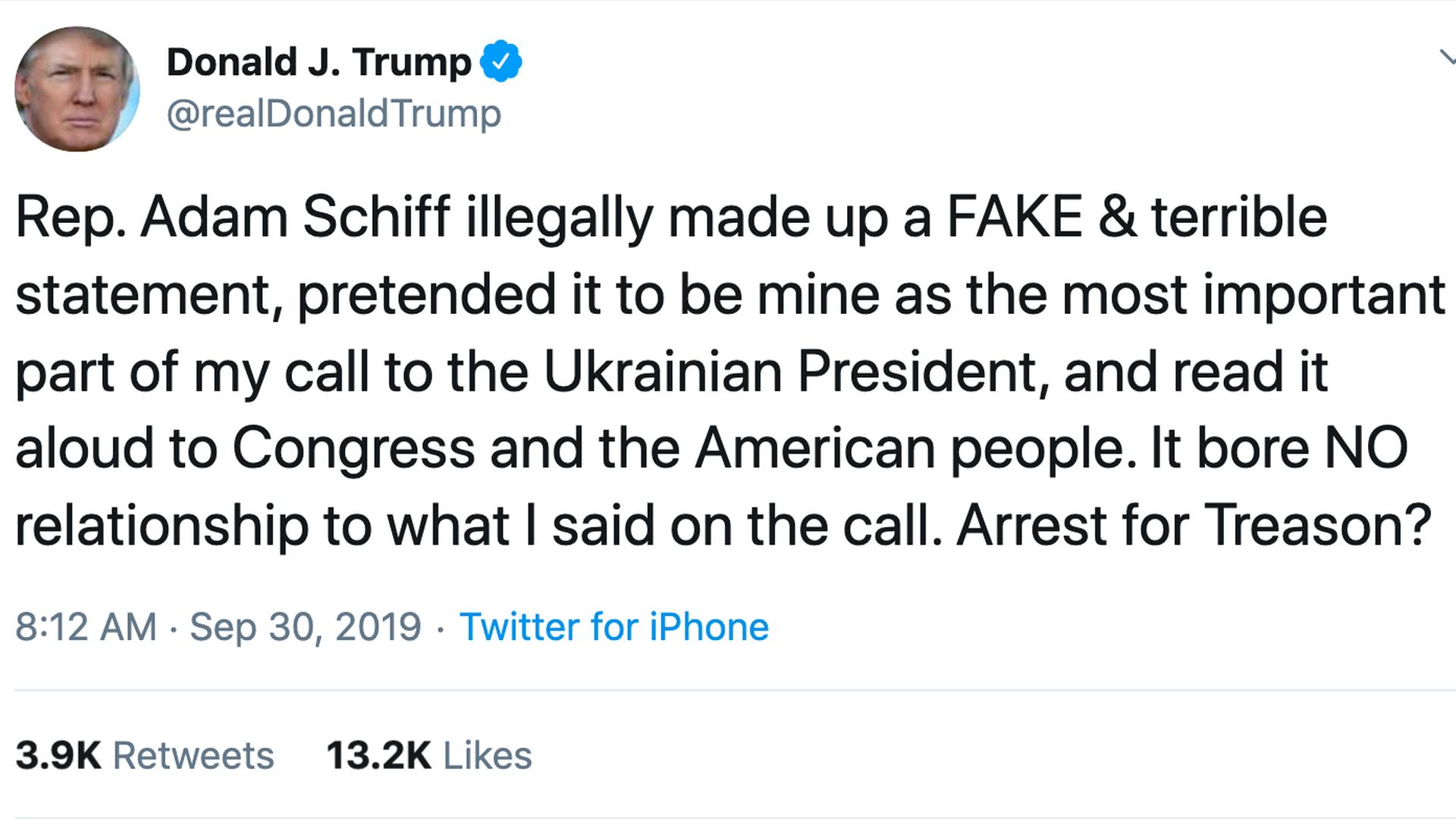 President Trump's tweet.