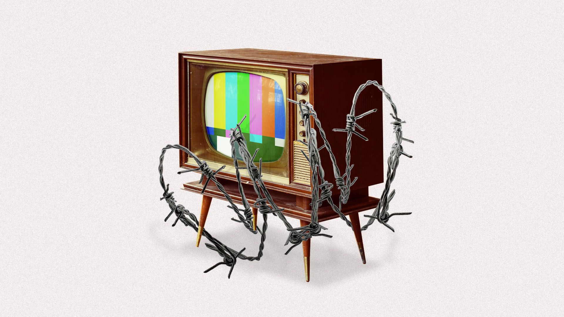Illustration of a TV covered in barb wire