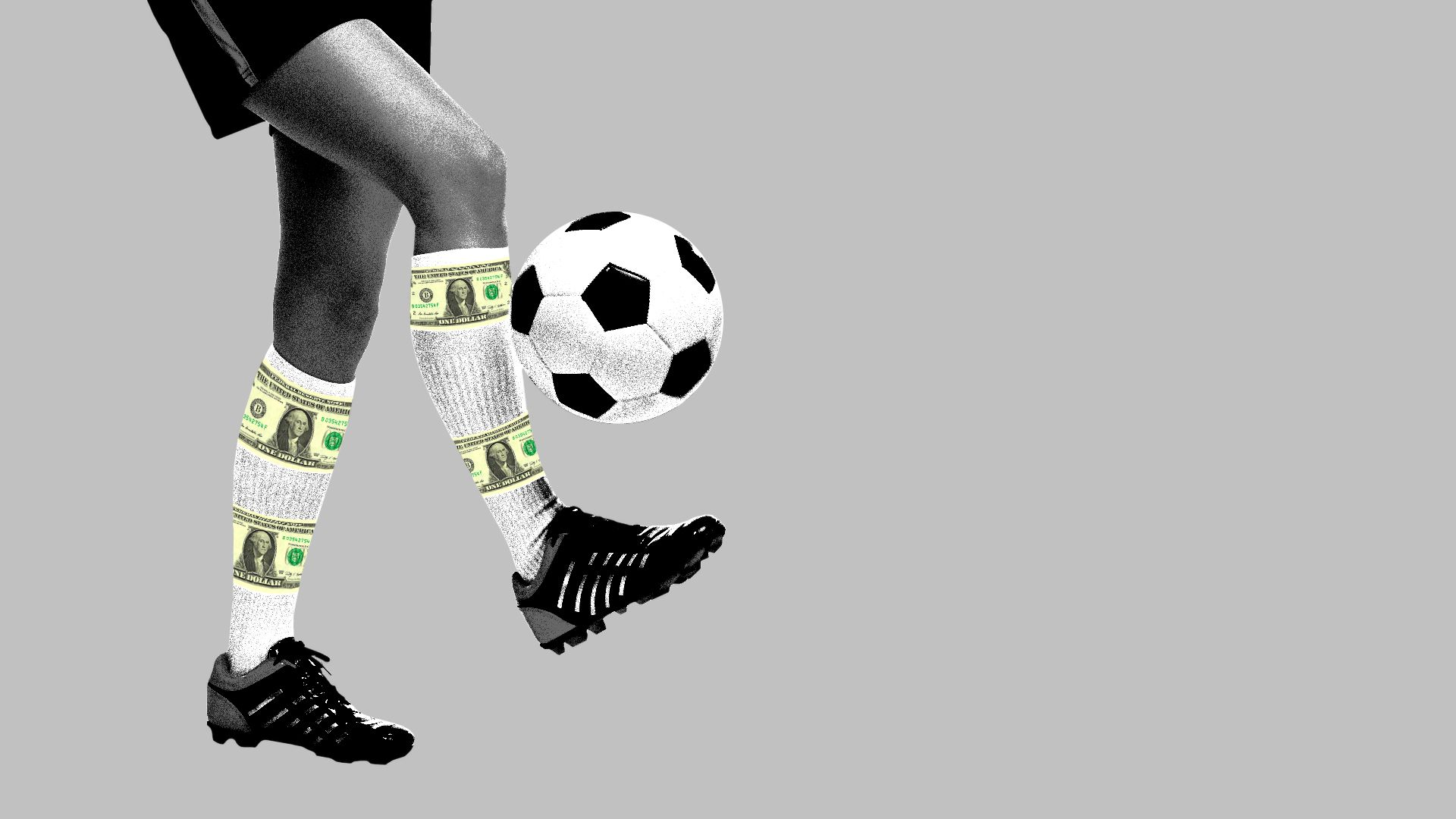 Illustration of soccer player with money striped socks