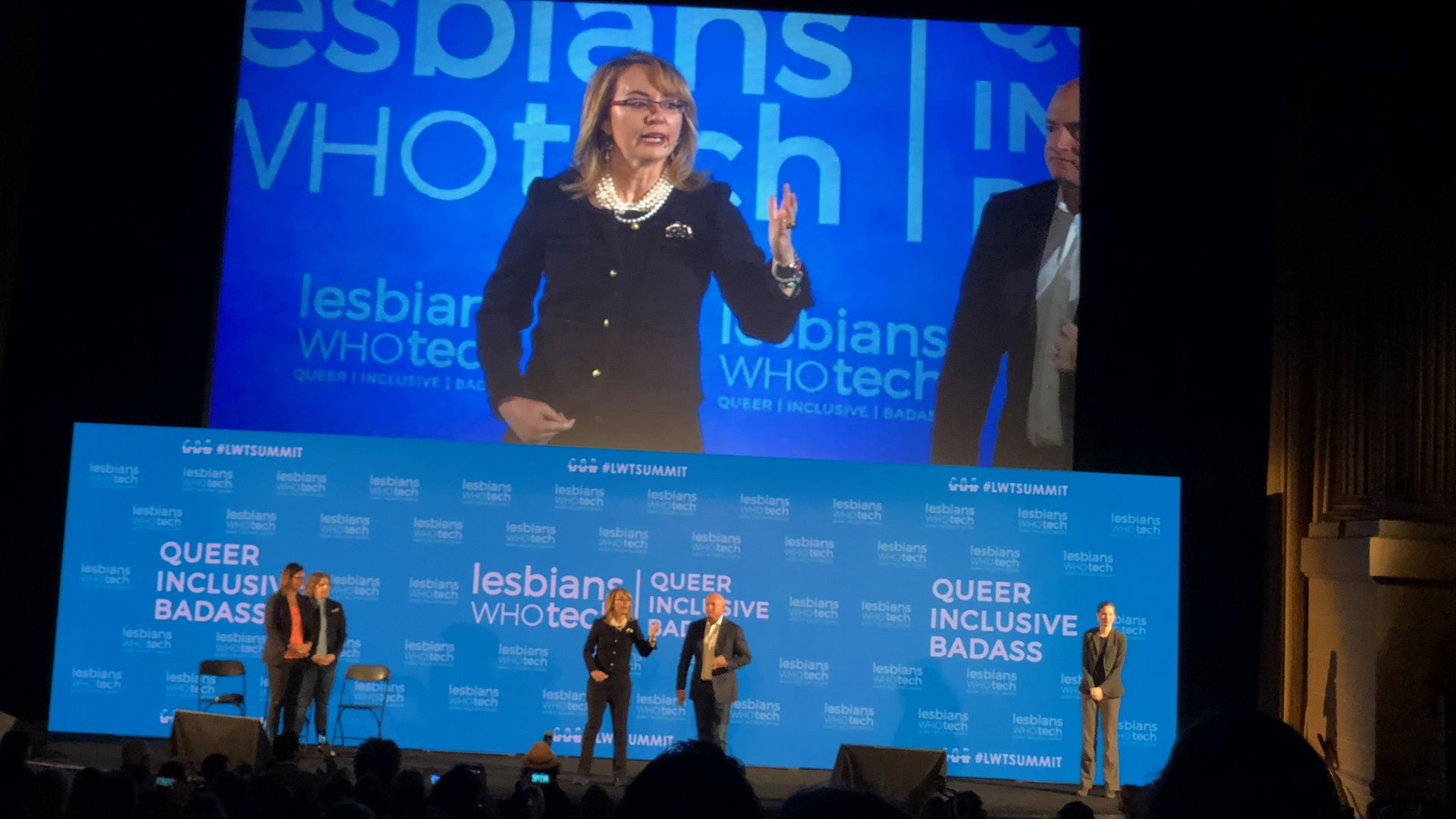 Gabby Giffords speaking at Lesbians Who Tech Summit