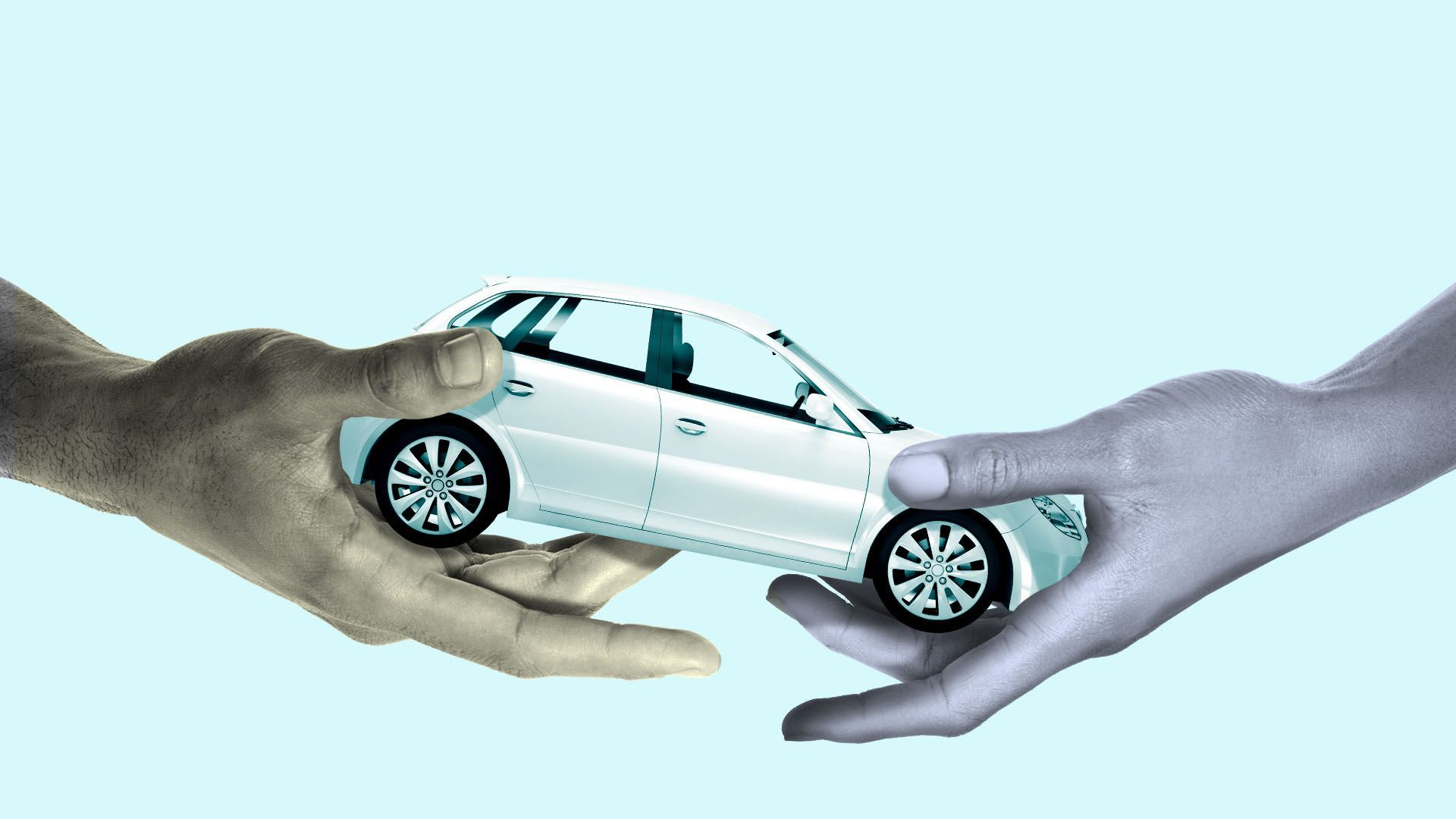 Illustration of two hands passing off a car